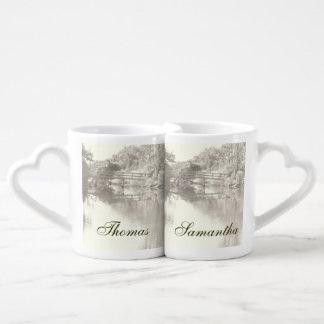 Romantic Footbridge Lovers Mugs