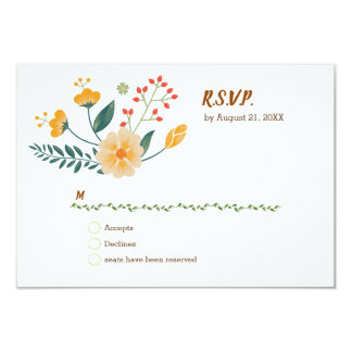 Romantic Foxes and Rustic Floral Foliage RSVP Card