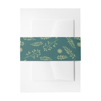 Romantic Foxes and Rustic Floral Foliage Wedding Invitation Belly Band