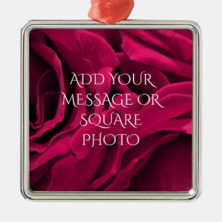 Romantic fuchsia pink velvet roses floral photo metal ornament