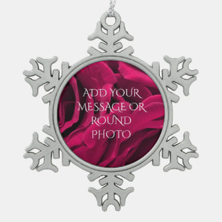 Romantic fuchsia pink velvet roses floral photo snowflake pewter christmas ornament