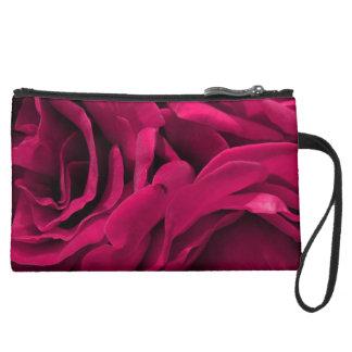 Romantic fuchsia pink velvet roses floral photo wristlet clutch