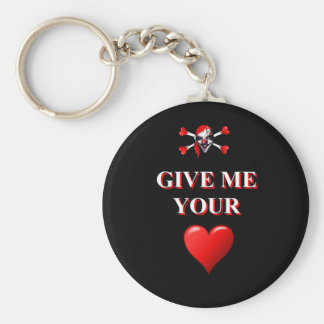 Romantic funny pirate ad red love heart basic round button keychain