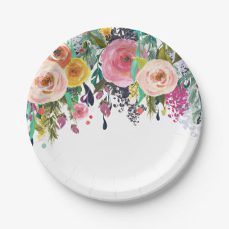 Romantic Garden Floral Watercolor 7 Inch Paper Plate