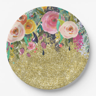 Romantic Garden Floral Watercolor Gold Sparkle Paper Plate