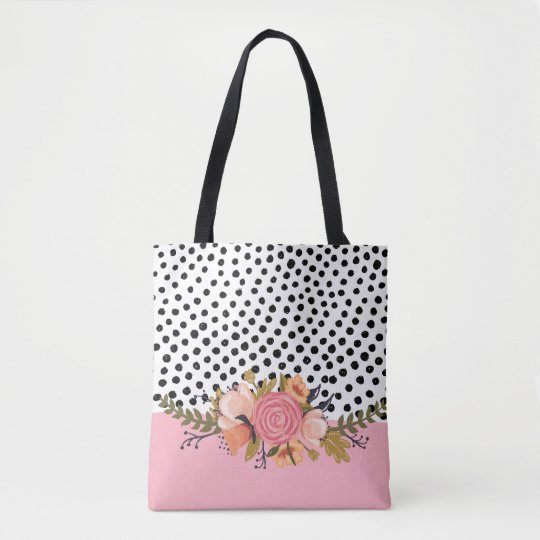 Romantic Garden Flowers & Black White Polka Dots Tote Bag