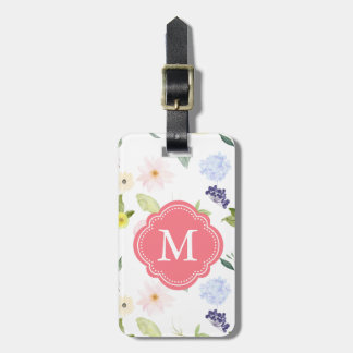 Romantic Garden Pink Watercolor Flowers Monogram Luggage Tag