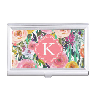 Romantic Garden Watercolor Flowers Monogram Business Card Holder