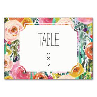 Romantic Garden Watercolor Flowers Table Number
