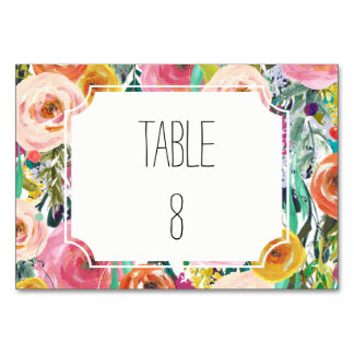Romantic Garden Watercolor Flowers Table Number Table Card