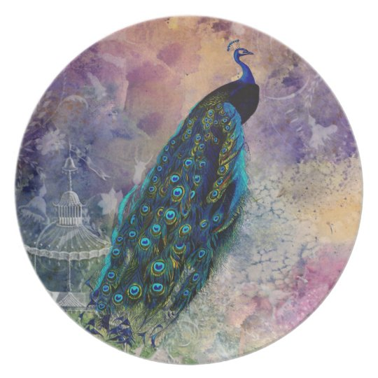 Romantic Gazebo Peacock and Watercolor Plate