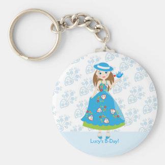 Romantic girl birthday party basic round button keychain