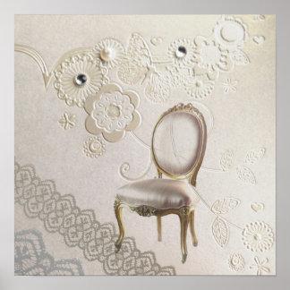 romantic girly chandelier Rococo chair paris Print