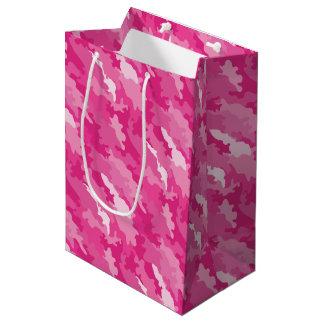 Romantic girly style camouflage pink pattern medium gift bag
