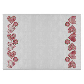 Romantic Glass Cutting Board: Hearts and Red Roses Cutting Board