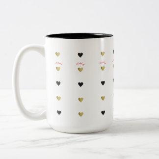 romantic gold & black love hearts with name Two-Tone coffee mug