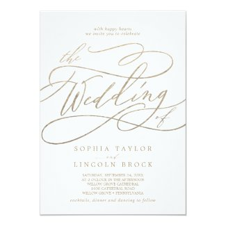 Romantic Gold Calligraphy Flourish The Wedding Of Card