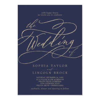 Romantic Gold Calligraphy | Navy The Wedding Of Card