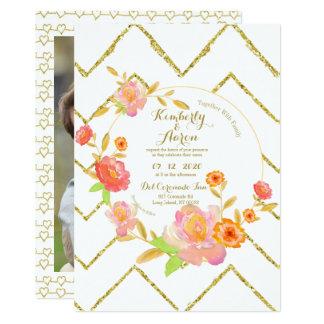 Romantic Gold Chevron   Pink Floral Wedding Invite