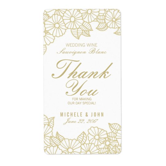 Romantic Gold Flowers Wedding Wine Custom Label