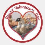 Romantic Gondola Ride for Valentine's Day Round Sticker