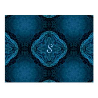 Romantic gothic baroque in dark blue monogram S Postcard