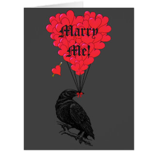 Romantic gothic crow marry me card