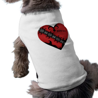 Romantic gothic medieval red heart doggie shirt