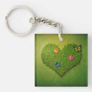 Romantic Grass Heart - Acrylic Keychain
