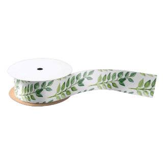 Romantic Green Leaves Ribbon- Gift Wrapping/ Decor Satin Ribbon