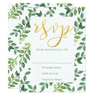 Romantic Green Leaves - RSVP Wedding Card