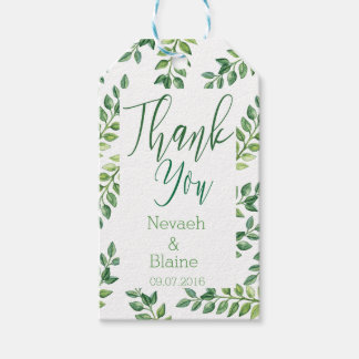 Romantic Green Leaves- Wedding Favor Thank you Tag Pack Of Gift Tags