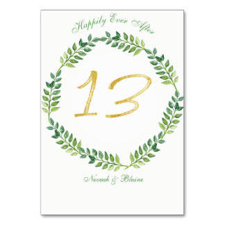 Romantic Green Leaves -  Wedding table card13 ring Card
