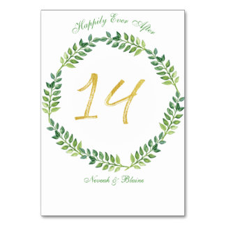 Romantic Green Leaves -  Wedding table card14ring Card