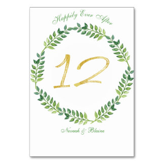 Romantic Green Leaves -  Wedding table card 12ring