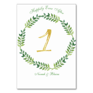 Romantic Green Leaves -  Wedding table card 1 ring