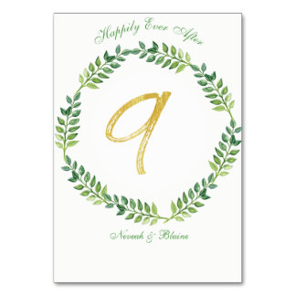 Romantic Green Leaves -  Wedding table card 9 ring