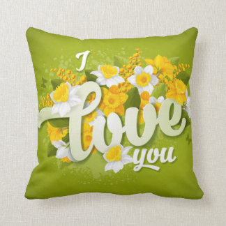 Romantic Green Yellow & White Daffodils Floral Throw Pillow