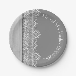 Romantic grey White lace and grey wedding Paper Plate