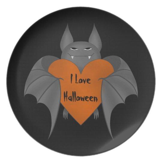 Romantic Halloween bat Plate