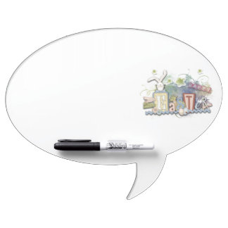 Romantic Happy Easter Bunny Greeting Cute Text Dry-Erase Whiteboard