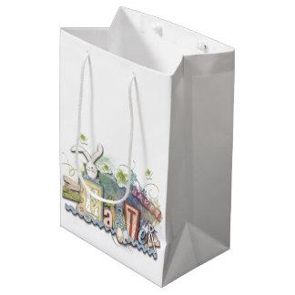 Romantic Happy Easter Bunny Greeting Cute Text Medium Gift Bag