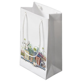 Romantic Happy Easter Bunny Greeting Cute Text Small Gift Bag