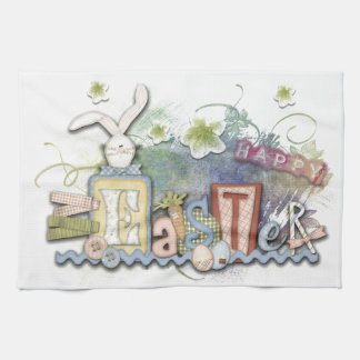 Romantic Happy Easter Bunny Greeting Kitchen Towel