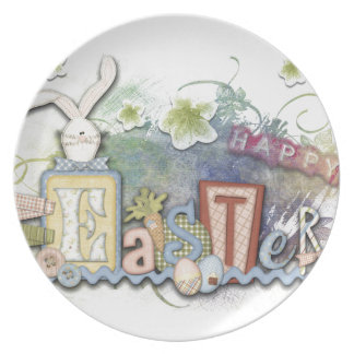 Romantic Happy Easter Bunny Greeting Plate