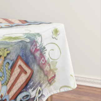 Romantic Happy Easter Bunny Greeting Tablecloth