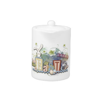 Romantic Happy Easter Bunny Greeting Tea Pot