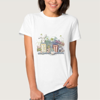 Romantic Happy Easter Bunny Greeting Text T-shirt