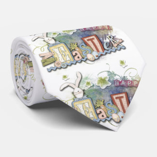 Romantic Happy Easter Bunny Greeting Text Tie