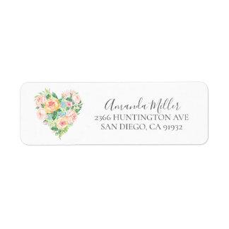 Romantic Heart  Bridal Shower Return address